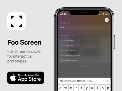 Foo Screen - Full screen browser for interactive prototypes framerjs swift webkit app ios prototype browser full screen