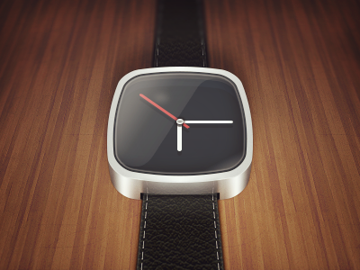 Watch icon metal photoshop time wood design leather hour minutes second texture watch