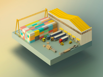 Logistic warehouse! illustration vector ui photoshop isometry delivery transpos boxes container tracks