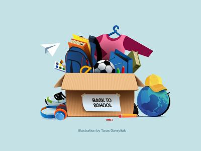 Back to school! school stuff brushes pencils schoolbag