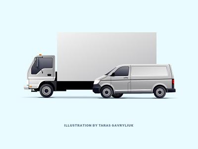 Delivery service. track van design 2d ui vector illustration