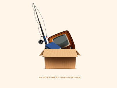 Decided throw away all оld stuff on the dribble. fishing rod old tv antiques оld stuff 2d illustration vector ui