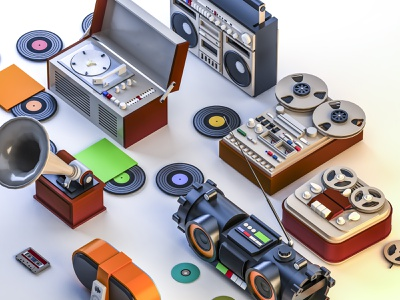 All players of the 20th and 19th century. old render isometry recorder boombox cassette gramophone record cassette player turntable
