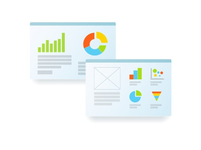 A set of slides with vector charts. line chart ui vector