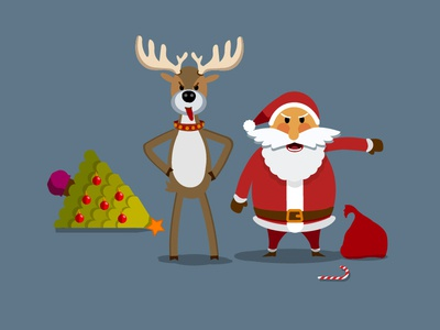 Angry Santa Claus and his friend (deer)