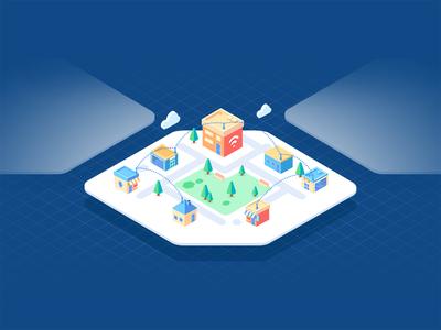 Blockchain internet isometric illustration
