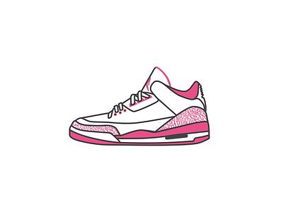 Air Jordan 3 - dribbble style illustration hello 球鞋 乔丹 sneaker illustrator aj icon air jordan dribbble