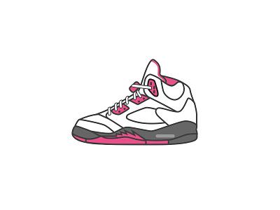 Air Jordan 5 - Dribbble style illustration 球鞋 乔丹 sneaker illustrator icon aj air jordan dribbble