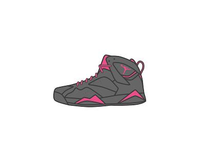Air Jordan 7 - Dribbble style illustration 球鞋 乔丹 sneaker illustrator icon aj air jordan dribbble