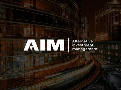 AIM management investment arrows black white minimal type logo
