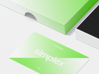 Simplex card packaging green certificate identity ios macos box clean type gradient logotype new york brand branding logo minimal logo designer design