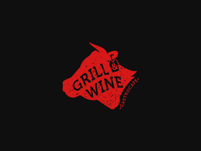 Grill & Wine logo red gastronomy bull wine grill