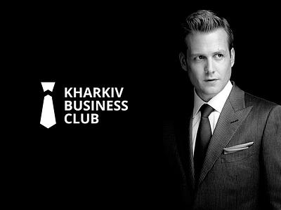Kharkiv Business Club logo black growth club business tie white