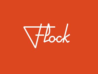Flock red logo lettering