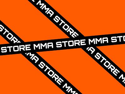 MMA Store brand identity mma identity packing minimal brand logo type orange