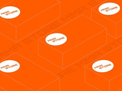 MMA Store Packing typography packing type white mma brand blue logo black minimal orange