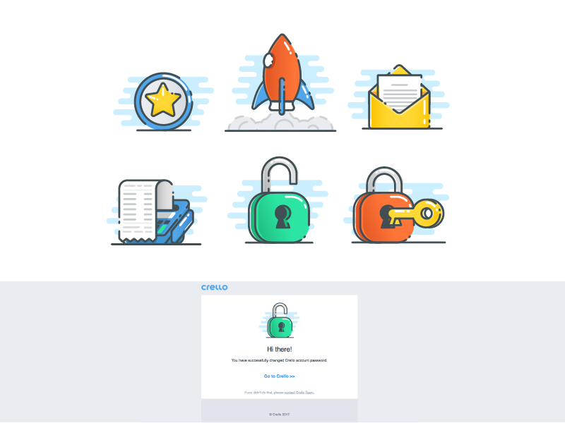 Icons for mail check letter star rocket lock mail icons