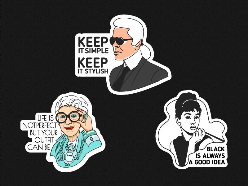 Stickers apfel iris hepburn audrey cool face lagerfeld stickers week fashion ukrainian