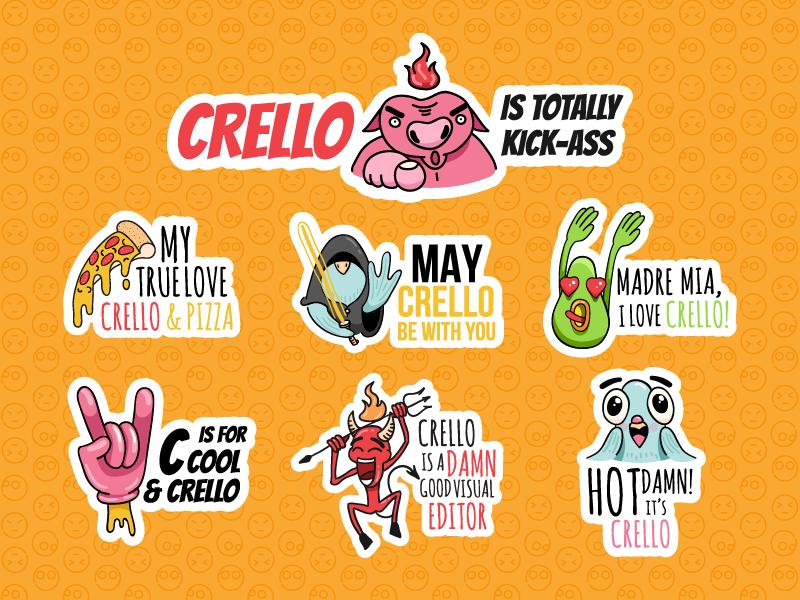 Stickers avocado force pizza pig illustration character crello fun icon cool sticker