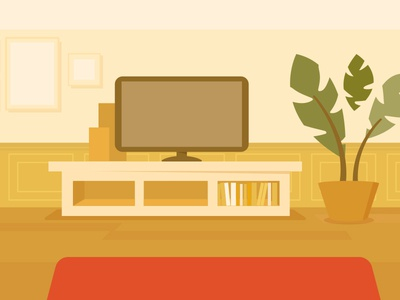 Livingroom / Back view background room warm illustration