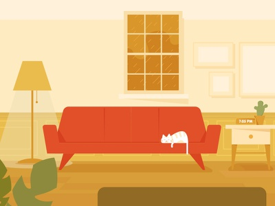 Livingroom / Front view interior cat background room warm illustration