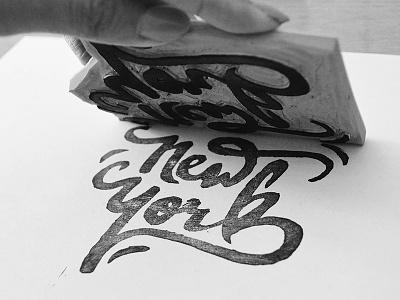 Linocutting / New York handmade typography calligraphy black handlettering stamp linocut