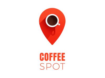 Coffee spot logo symbol vector logo design shadow location pin perspective red minimal logo