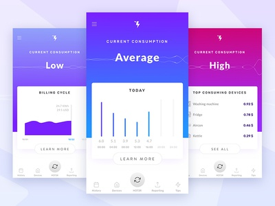 MET3R app ui design mobile app consumption waves ui