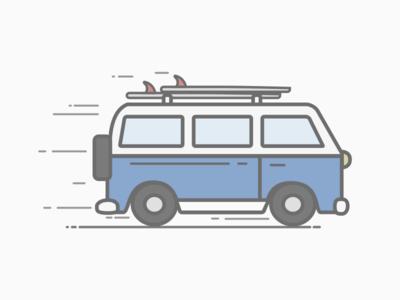 Explore More! westy volkswagen westfalia vw van surf illustration flat