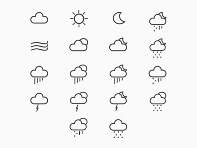 Weather Icons outline weather cloud theme icon set illustrations icons