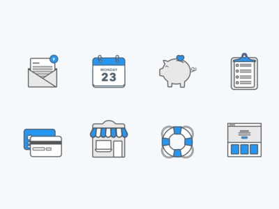 Feature Icons shop clipboard donations pig support payments calendar mail illustration vector features icons