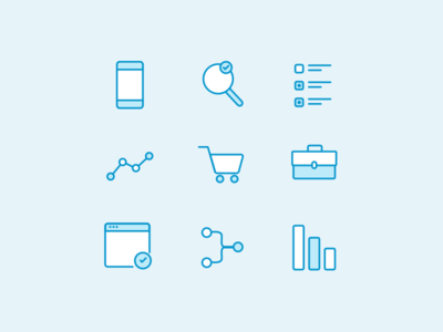 Homepage Icons briefcase data checklist search mobile set line icons iconography icon
