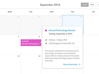Calendar Quick View location time status description popup calendar ui tooltip event popover