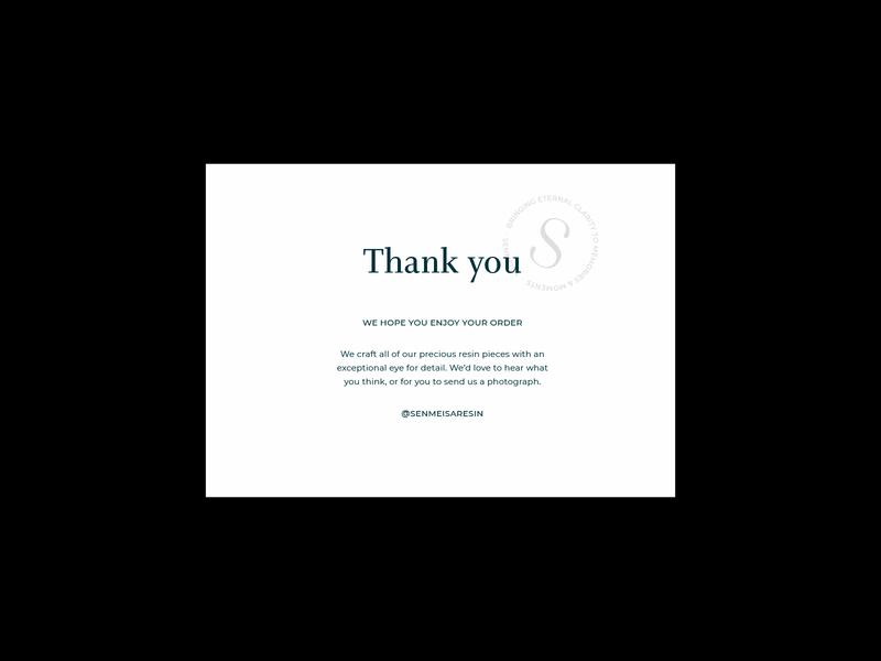 Senmeisa - thank you card thank you print jewellery jewellery brand thank you card serif logo design brand identity brand typography