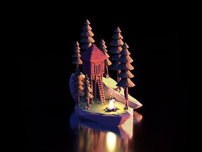 Wild Forest/Fire Cabin - VR/Oculus Model 3d modeling illustration motion graphics animation model oculus trees cabin wild nature fire cinema4d 3d