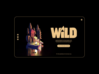 WiLD Forest/Fire Cabin Process - Website Concept fire flame homepage design nature wild outdoor cabin website animation 3d design homepage logo animation illustration ux ui branding design logo typography brand identity brand