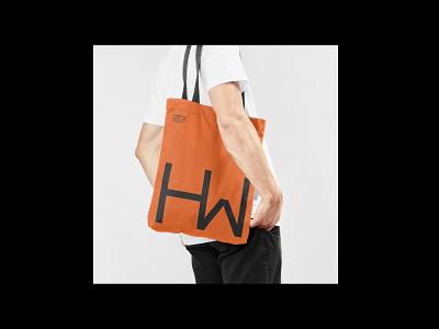 HardmanWilliams - Tote Bag minimal san serif monogram mockup orange logo sciene engineering tote bag brand identity typography brand branding