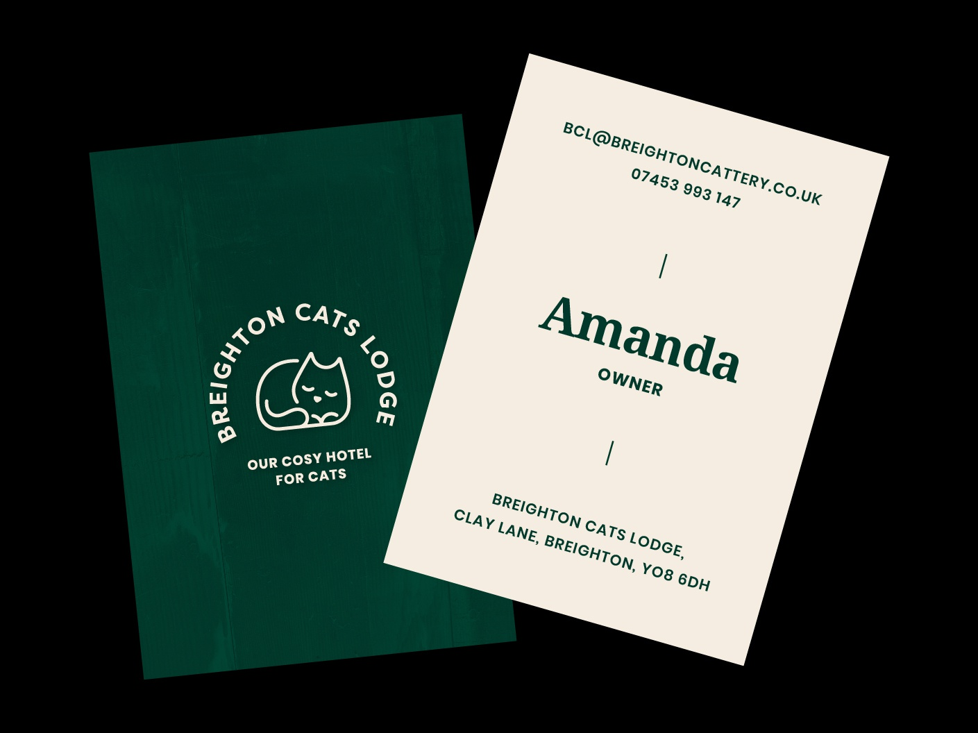 Cat Lodge Business Cards sleeping cat cat illustration roll out print design brand assets serif typography business cards brand identity cream green lodge hotel cat badge brand