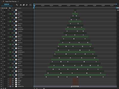 Happy New Year.aep layers christmas tree christmas new year tree after affects new year 2019 making of mograph motion design keyframes after effects animation