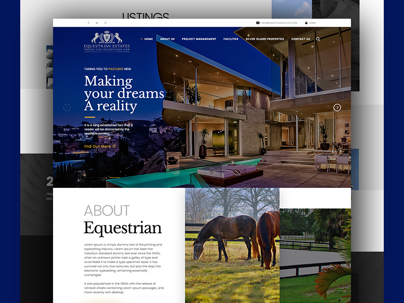Landing Page - Equstrian Estates website design landing page real estate layout responsive design uxui design interface design