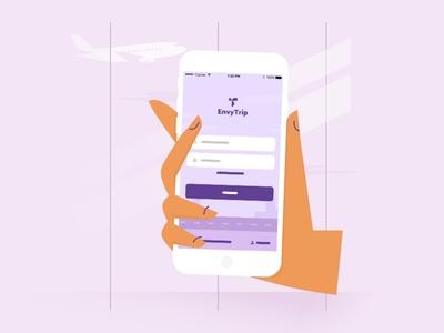 Illustration for web-site. EnvyTrip flat illustration design trip travel application mobile