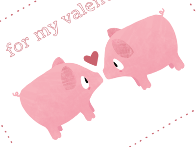 valentine pigs illustration - Valentine Pig