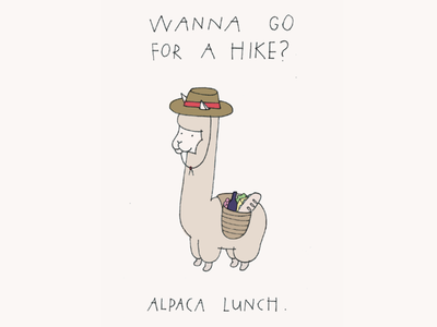 Actual Holidays Greeting Card - Go For a Hike Day animal travel prepared picnic lunch hike llama drawing illustration greeting card hiking alpaca