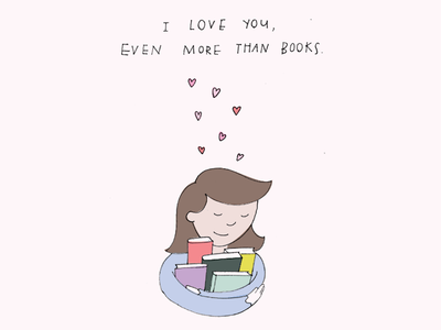 Actual Holidays Greeting Card - Book Lovers Day greetings funny humor hearts love library bibliophile color drawing illustration books greeting card
