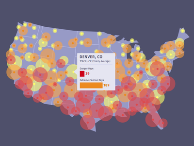 Climate Central Hot Days Map color cities data visualization data viz hover temperature bar graph tooltip global warming heat map map climate change