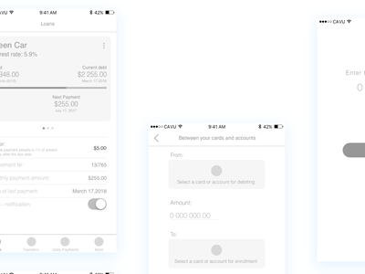 High - Level Wireframes for CAVU Mobile banking app ux design ui design mobile design mobile app metryus finance app cavu banking app