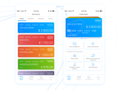 Cards Management in CAVU ux design ui design mobile design mobile app metryus finance app cavu banking app