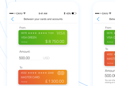 Transfers Money in CAVU - mobile banking app ux design ui design mobile design mobile app metryus finance app cavu banking app