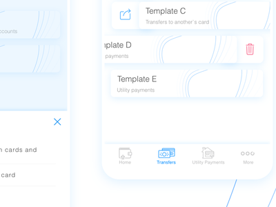 Templates & Regular Payments in CAVU - mobile banking app banking app cavu finance app metryus mobile app mobile design ui design ux design