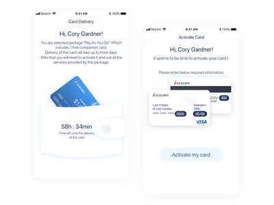Card delivery & activate card finance active card cards design ui design app fintech app mobile app illustration mobile finance app